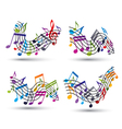 Bright jolly staves with musical notes on white vector image