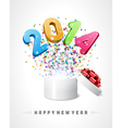 3d Happy new year 2014 3d message fly vector image