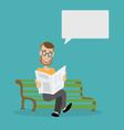 man on the bench reading a newspaper vector image
