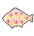 grunge fish icon on background vector image