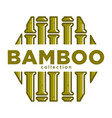 bamboo collection promo emblem in hexagon shape vector image
