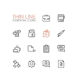 Business Office - Thin Single Line Icons Set vector image