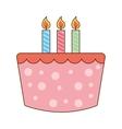 cake delicious candles birthday icon vector image