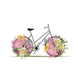 Floral bicycle for your design vector image