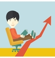 Japanese guy relaxing in growing business vector image