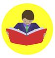 man reading open book vector image