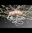 merry christmas shining gold glitter snowfall vector image