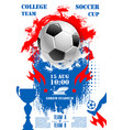 poster for soccer football championship cup vector image