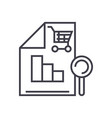 shopping analysis line icon sign vector image