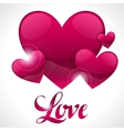 Valentine day background with word love and hearts vector image