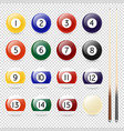 realistic pool - billiard balls and cue vector image