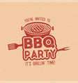 bbq party typography poster template in retro old vector image