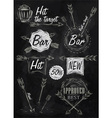 Set emblem of Bar Boom Arrow chalk vector image