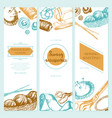 sewing accessories - color drawn template banner vector image