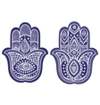 Indian hand drawn hamsa with ornaments vector image