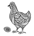 Zentangle stylized chicken with egg vector image