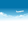 Airplane flying high in the sky vector image vector image