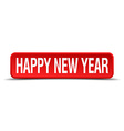 happy new year red 3d square button on white vector image