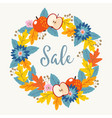 autumn fall sale poster with hand drawn floral vector image