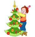 cute and happy cartoon boy and a firtree vector image