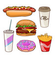 fast food flat collection vector image