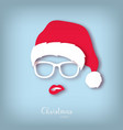 girl santa with red lips paper art style vector image