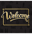 Gold signs welcome in frame vector image