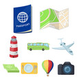 set of icons on the theme of rest travel abroad vector image
