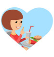 girl with fast food in his hands vector image