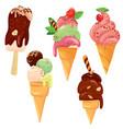 set of ice cream cones with glaze chocolate vector image