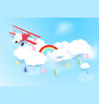 paper art style airplane flying on sky with cloud vector image
