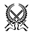 Victory wreath with crossed swords vector image