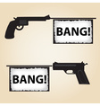 two handguns fire banner with text eps10 vector image