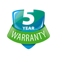 logo shield 5 year warranty vector image