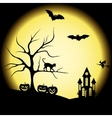 halloween silhouettes and full moon vector image