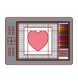 digitizer tablet with colours palette and heart vector image