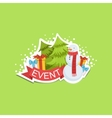 Event Template Label Cute Sticker With Snowman And vector image