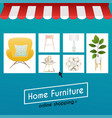 flat design concept online shopping furniture and vector image