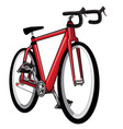 isolated red bicycle - vector image