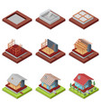 isometric 3d set construction stages of house vector image