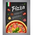 Realistic vertical pizza blackboard flyer vector image