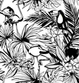 Tropical floral summer seamless pattern with palm vector image