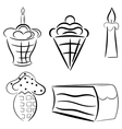 Cartoon set of cakes eps10 vector image vector image