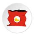 Crumpled bag of chips icon flat style vector image