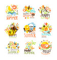 happy summer vacation sunny colorful graphic vector image vector image