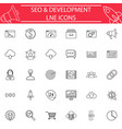 seo and development line icon set vector image
