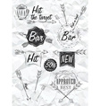 Set emblem of Bar Boom Arrow crumpled paper vector image