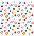 ladybugs and flowers background vector image vector image
