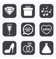 Wedding engagement icons Rings gift box vector image