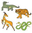 animals set antilopa tiger varan boa vector image